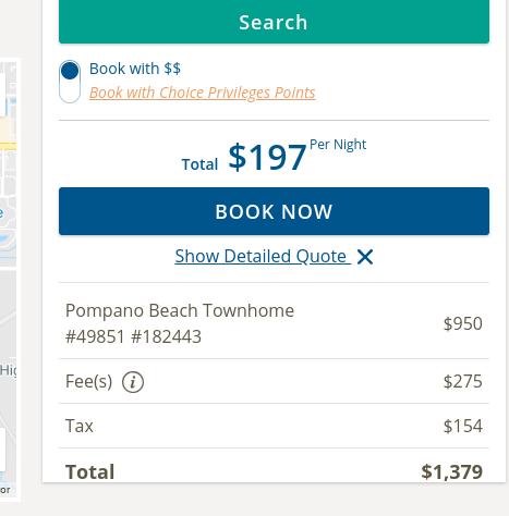Screenshot of Choice Vacation Rentals pricing