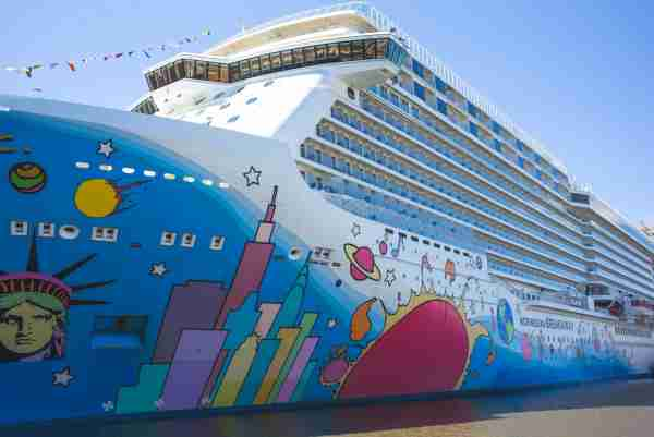 NEW YORK, NY - APRIL 2: The cruise ship Norwegian Breakaway is docked at a pier along the Hudson River April 2, 2017 in New York City. The 1,069