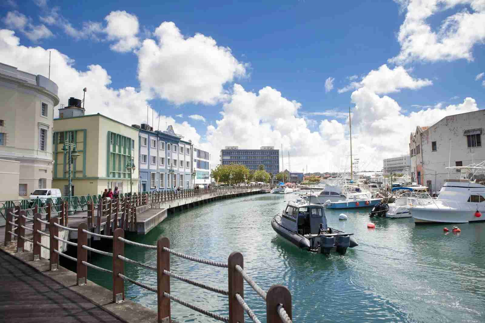 The marina in downtown Bridgetown, Barbados. (Photo via Shutterstock)