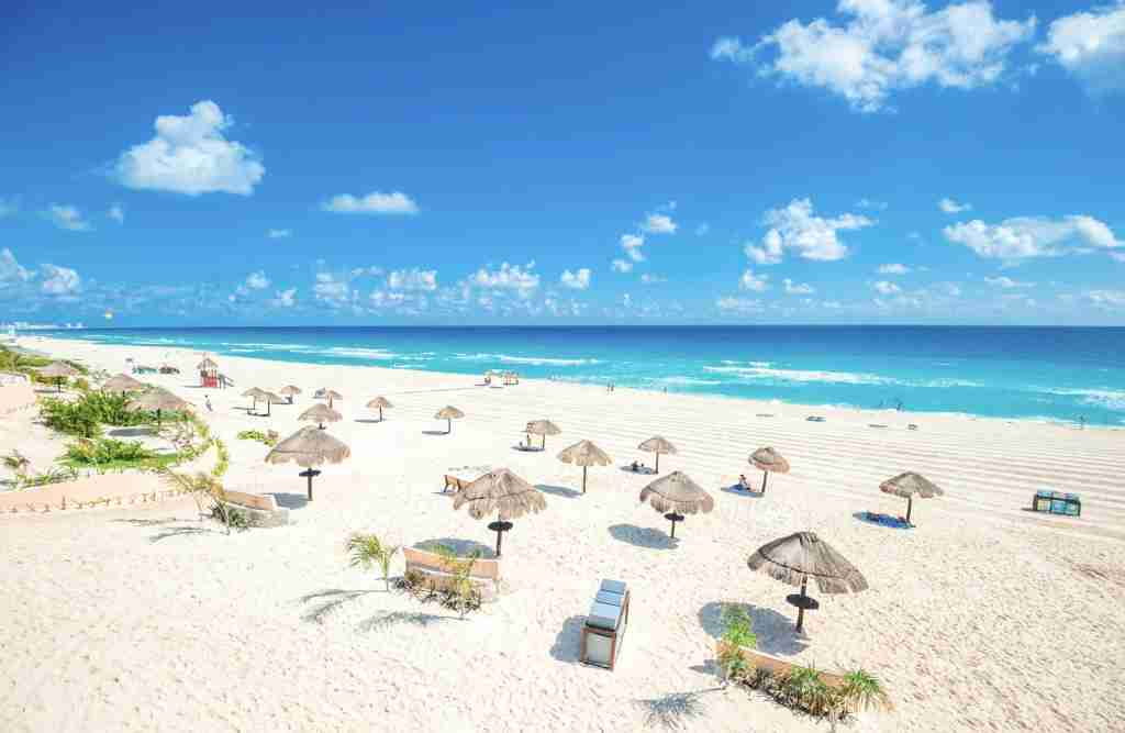 An empty beach in Cancun, Mexico. (Photo via Shutterstock)