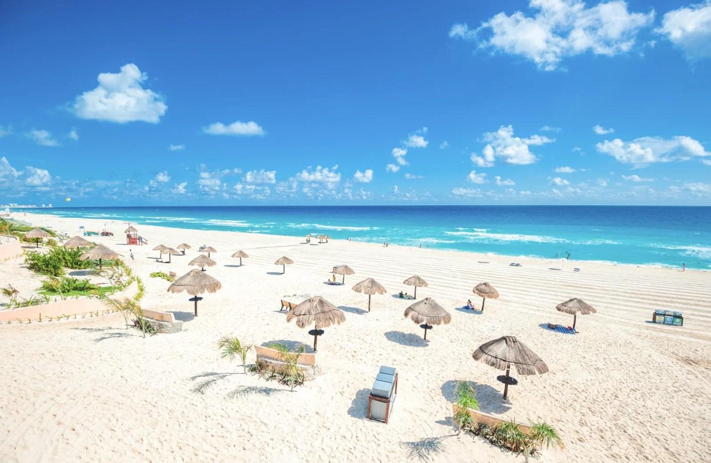 An empty beach in Cancun, Mexico. (Photo via Shutterstock)