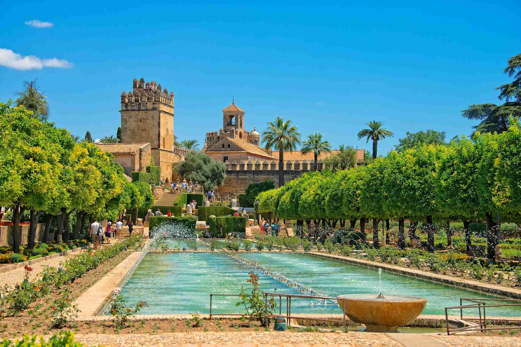 View of Alcázar of Córdoba Spain from the garden.