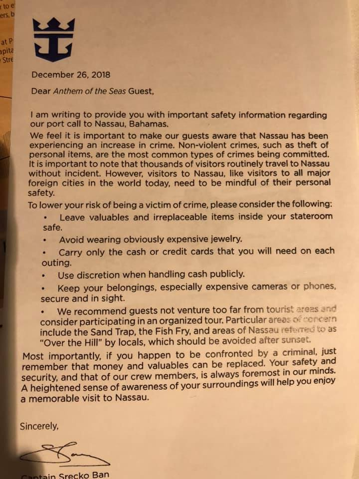 A letter sent to Anthem of The Seas guests. (Image via CruiseRadio.net