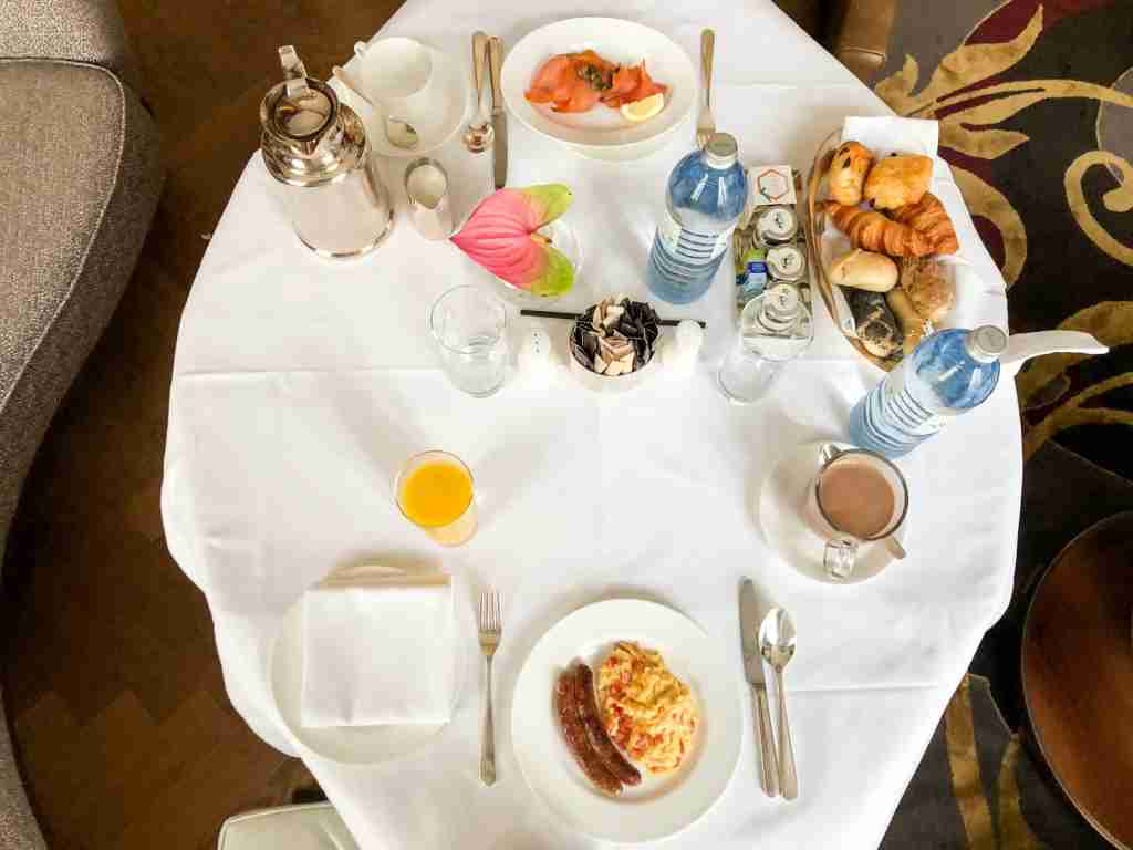 Free room service breakfast at the Park Hyatt Vienna thanks to Hyatt Globalist status (Photo by Summer Hull/The Points Guy)