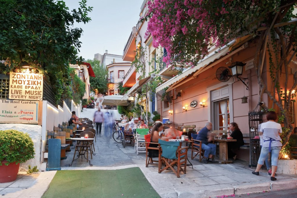Dining out in Plaka, Athens. (Photo via Shutterstock)