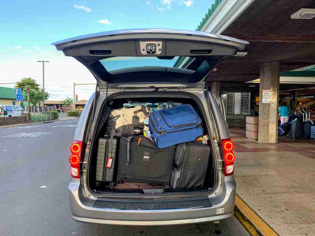 minivan car delta lyft luggage packed airport