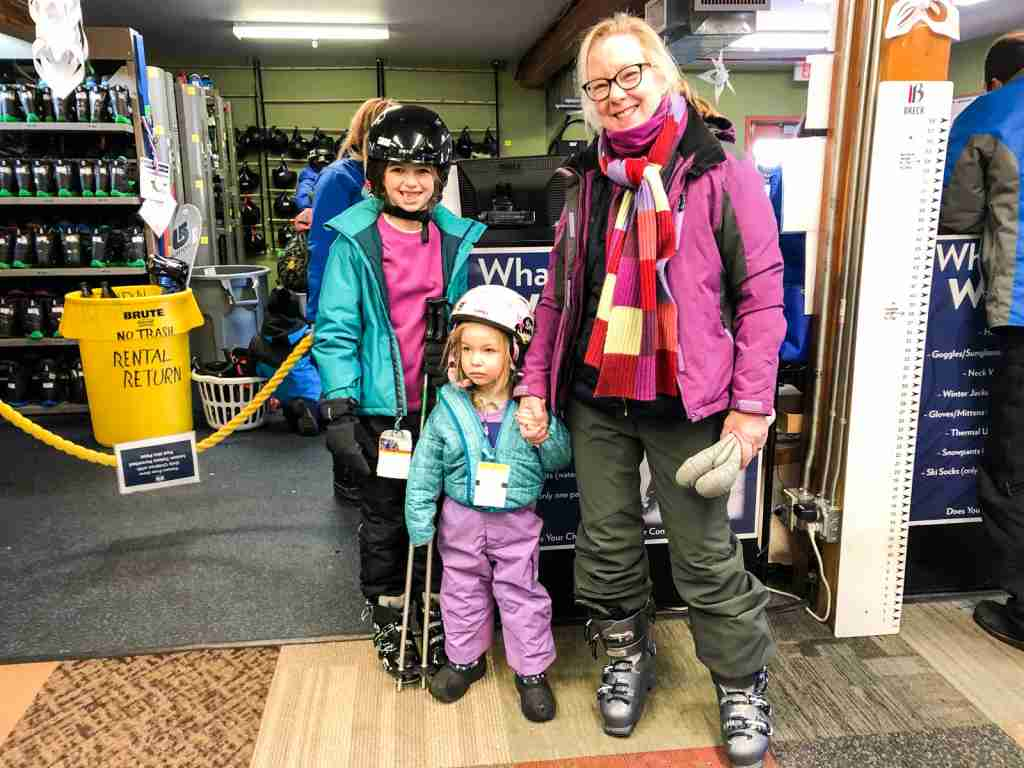 Ready for ski school at 3 and 9 years old