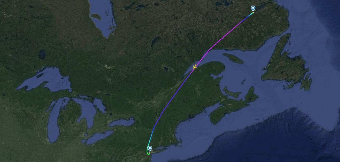 The United Airlines recovery flight (Image via Flightradar24)