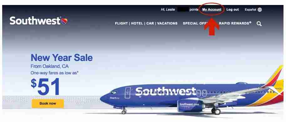 Southwest Companion Pass - Southwest website front page