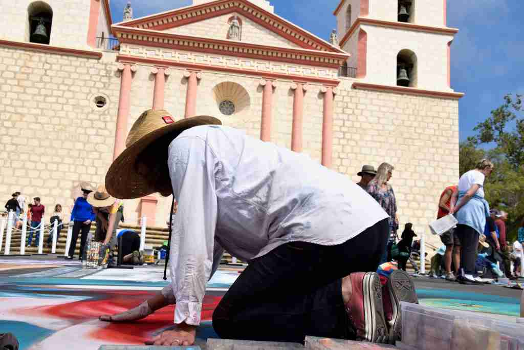 chalk painting festival Mission Santa Barbara