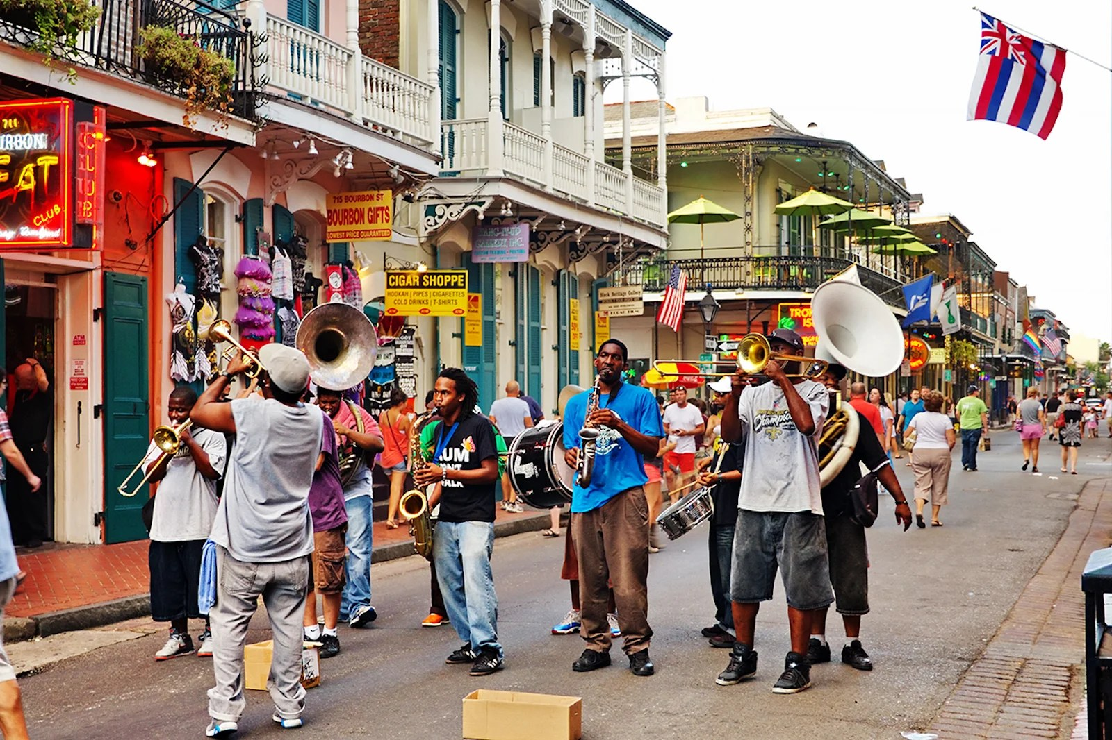 (A jazz band plays on Bourbon St. Photo by by Simplyphotos/Getty Images)