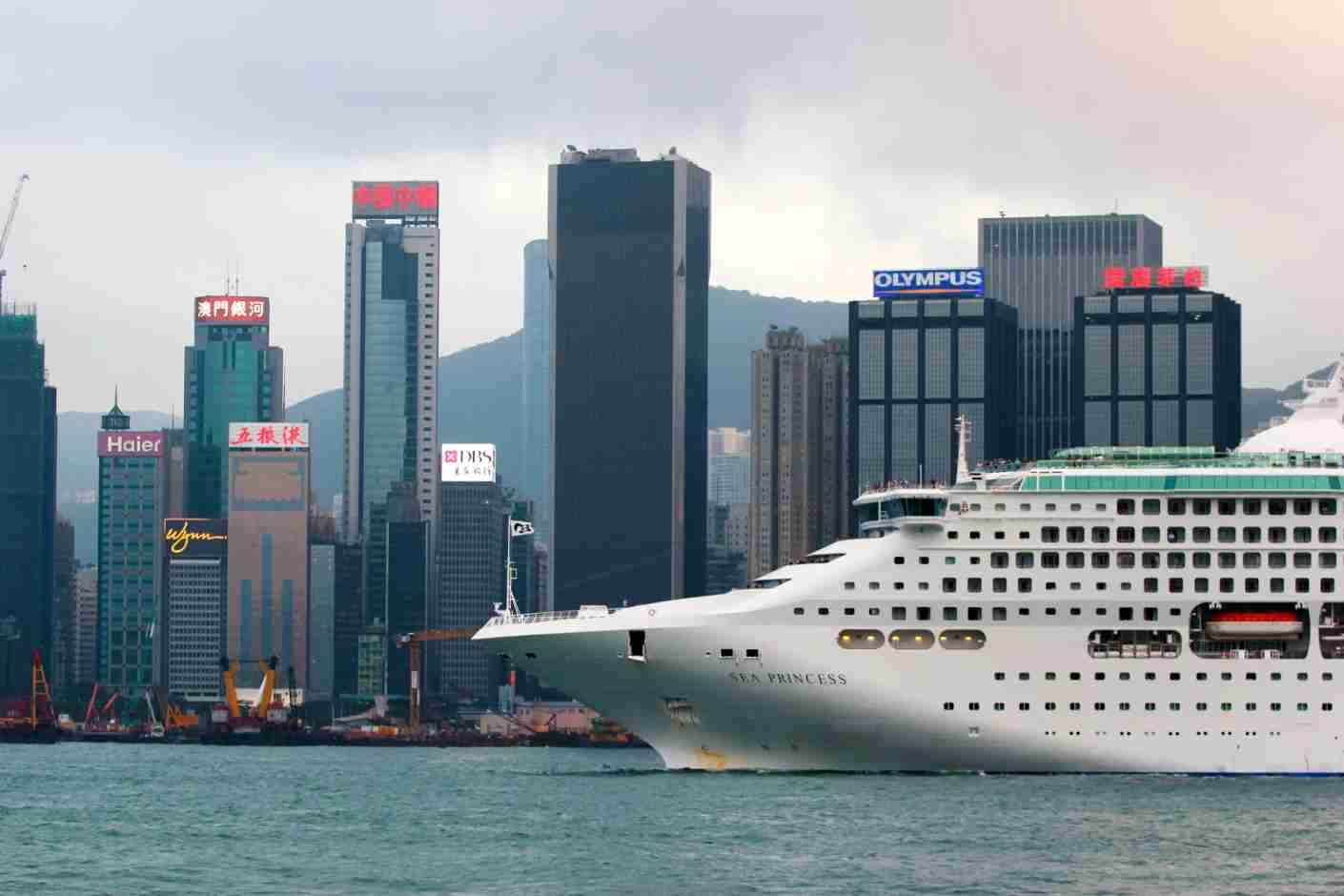 The Sea Princess of Princess Cruises entering Victoria Harbour, Hong Kong. (Photo via Getty Images)