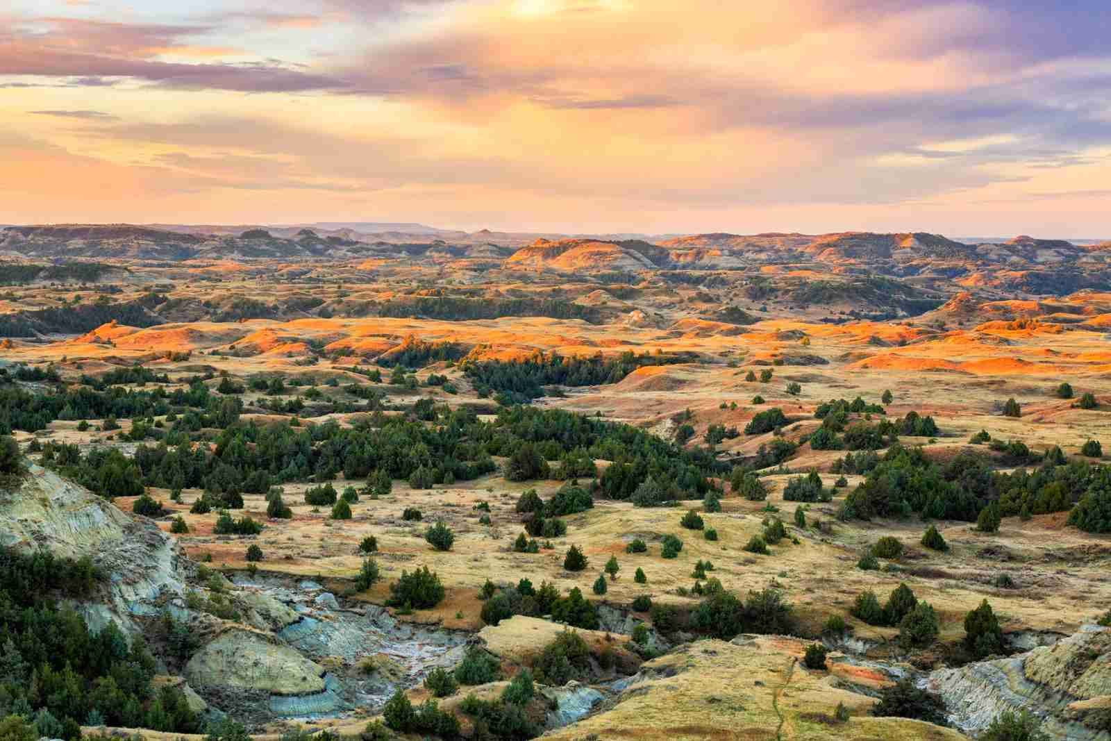 An aerial view of Theodore Roosevelt National Park, North Dakota. (Photo via Shutterstock)