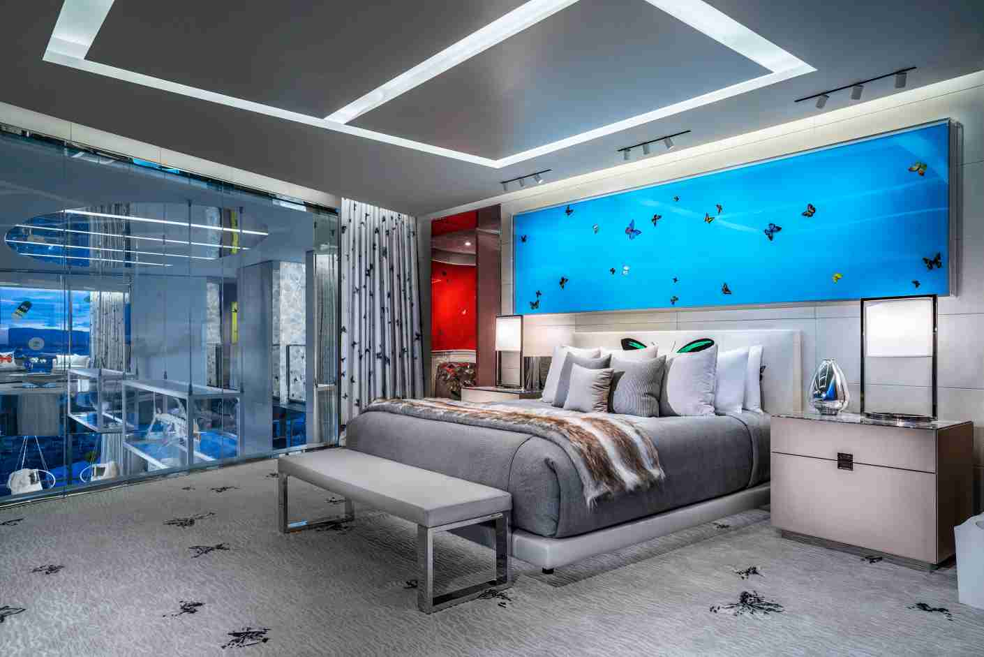The bedrooms are adorned in butterfly motifs. Photo courtesy of the Palms Casino Resort.
