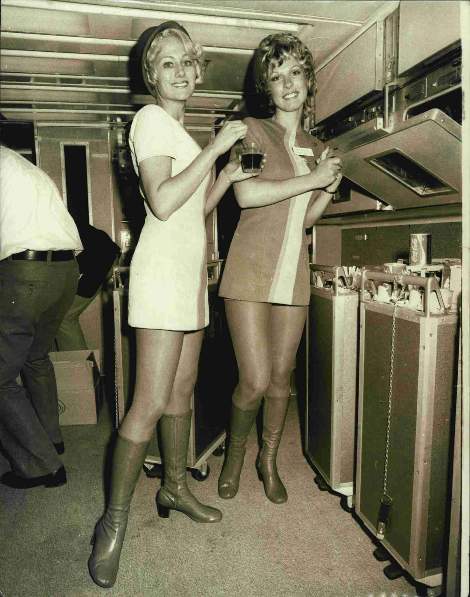 The Lockheed L1011 Tristar in Sydney for demonstration flights to try to sell the jet to TAA and Ansett.Flight hostesses of Pacific South-West Airlines LTR : Ann Bosone, 23, of San Diego, California, and Debbie Patterson, 24, of San Diego, California, pictured in the downstairs galley of the plane where allin-flight food and drink is prepared. May 24, 1974. (Photo by Trevor James Robert Dallen/Fairfax Media via Getty Images).