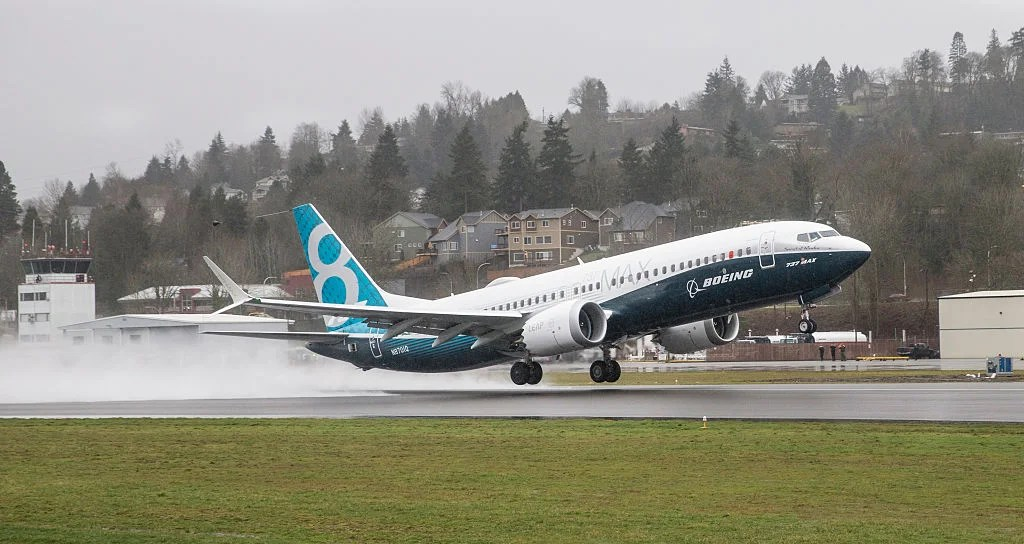 RENTON, WA - JANUARY 29: A Boeing 737 MAX 8 airliner lifts off for its first flight on January 29, 2016 in Renton, Washington. The 737 MAX is the newest of Boeing