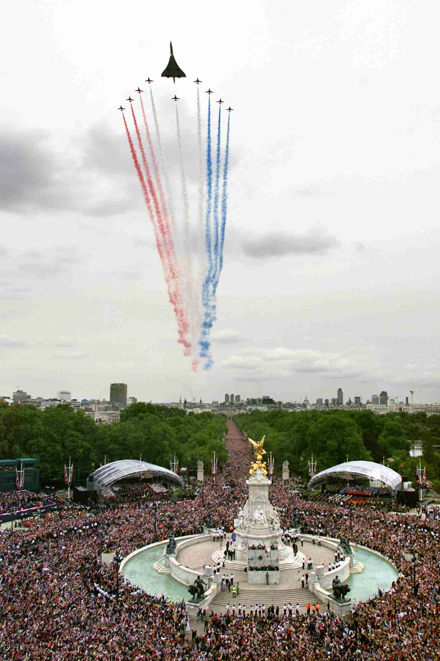 The Jubilee Fly past of 27 aircraft, including the Red Arrows and Concorde, fly above The Mall as part of the celebration to mark the Golden Jubilee of Britain