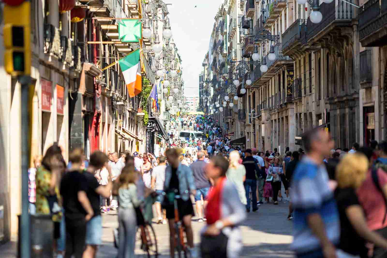 Day scene at Las Ramblas close to Plaça de Catalunya at rush hour. (Photo via Getty Images)