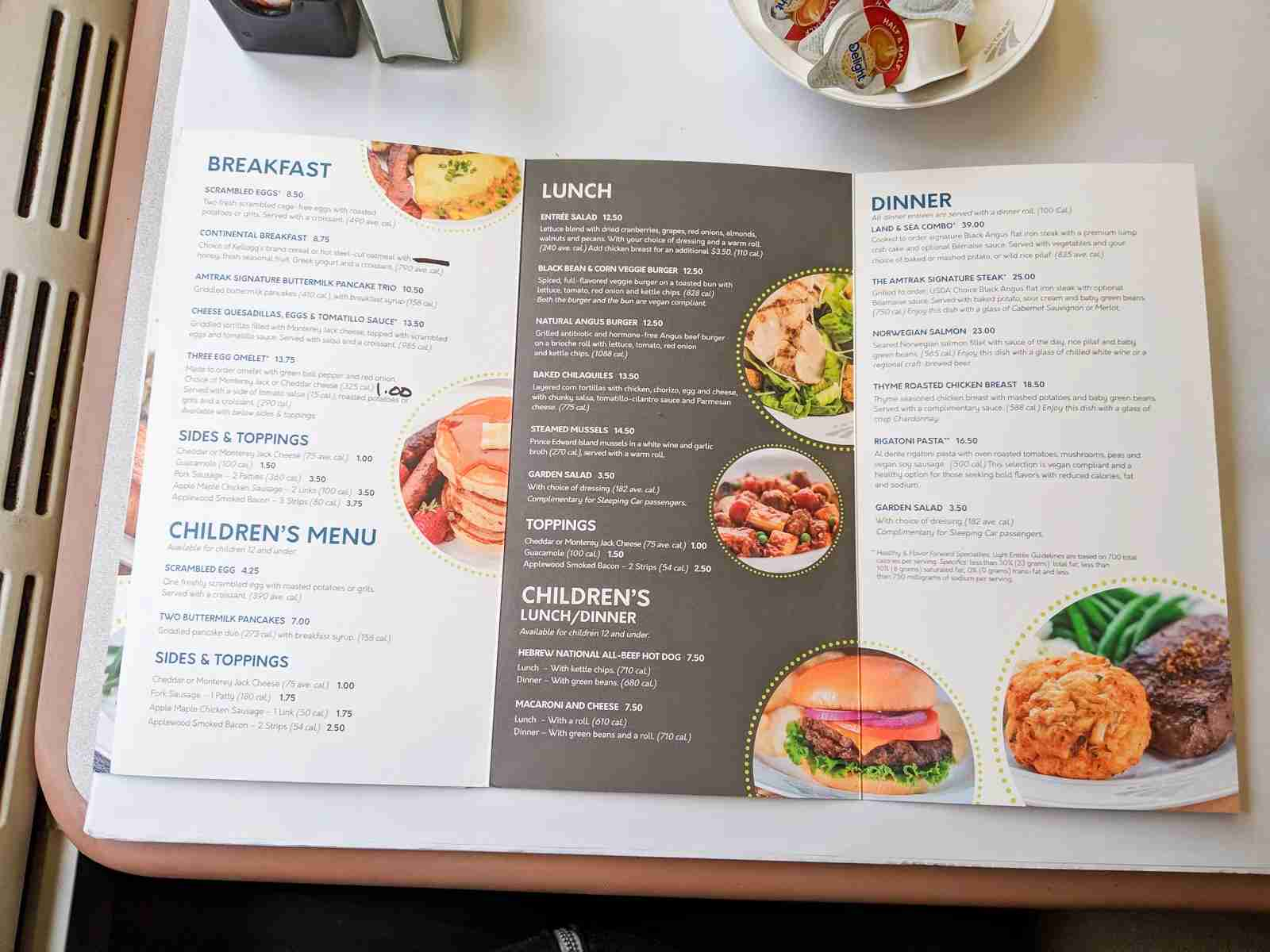 The dining car menu for our trip.