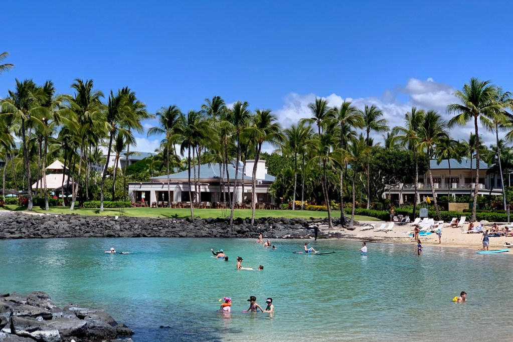 The lagoon at the Fairmont Orchid is surrounded by coral reefs perfect for snorkeling.