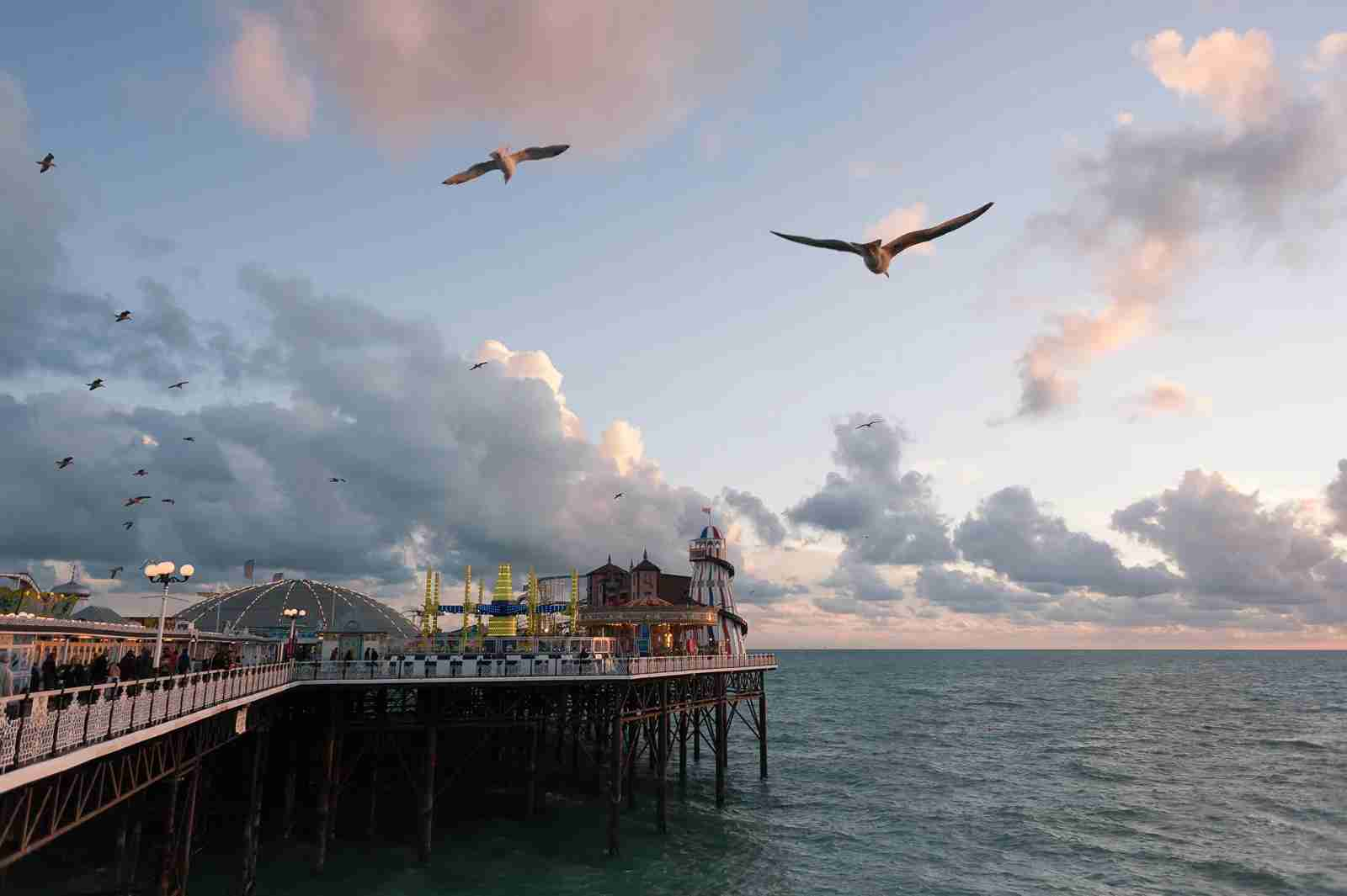 The Palace Pier in Brighton Beach, UK. (Photo by Laurence Cartwright Photography / Getty Images)