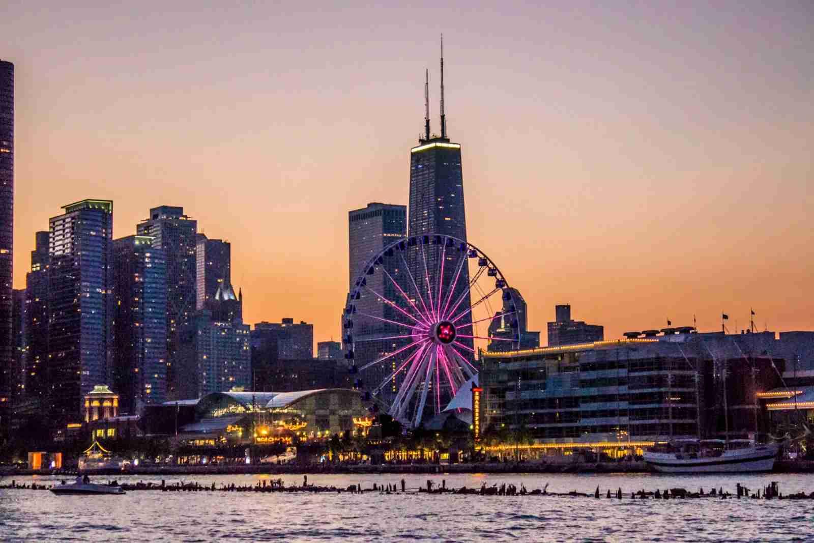 A view at dusk of the Centennial Wheel on Navy Pier. (Photo by Gautam Krishnan / Unsplash)