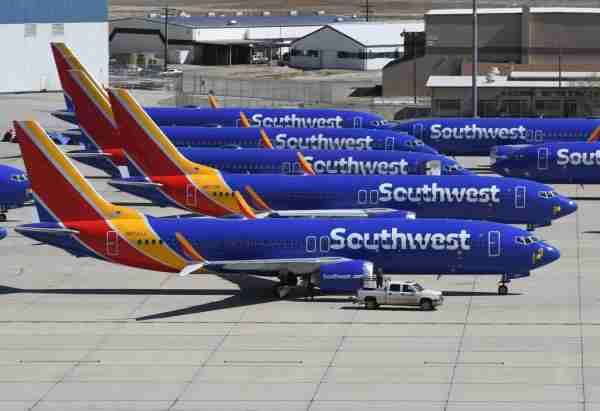 Southwest Airlines Boeing 737 MAX aircraft are parked on the tarmac after being grounded, at the Southern California Logistics Airport in Victorville, California, on March 28, 2019. (Photo by Mark Ralston/Getty Images)