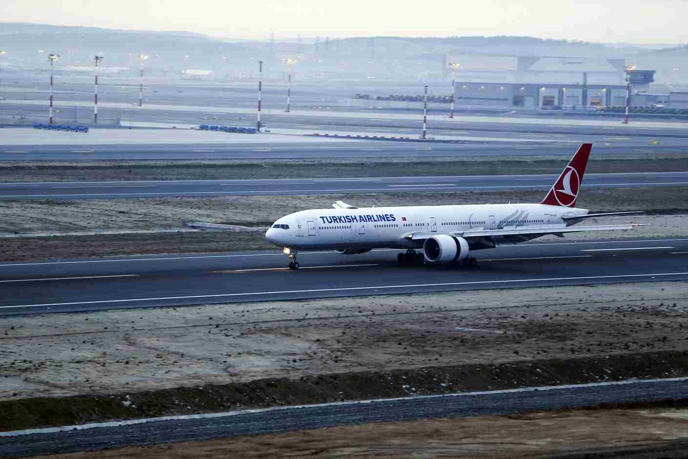 ISTANBUL, TURKEY APRIL 05: Turkish Airlines plane, took off from Ataturk Airport without passengers, is seen landing at new Istanbul Airport, on April 05, 2019 in Istanbul, Turkey. The big switch from Ataturk Airport to the new mega-Istanbul Airport started. Starting on April 5 at 3.00 a.m. local time (0000GMT), the initial moving operation will take a total of 45 hours. Istanbul Airport, the world