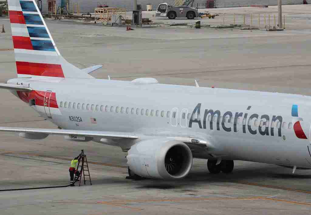 MIAMI, FL - MARCH 14: A grounded American Airlines Boeing 737 Max 8 is seen parked at Miami International Airport on March 14, 2019 in Miami, Florida. The Federal Aviation Administration grounded the entire United States Boeing 737 Max fleet. (Photo by Joe Raedle/Getty Images)