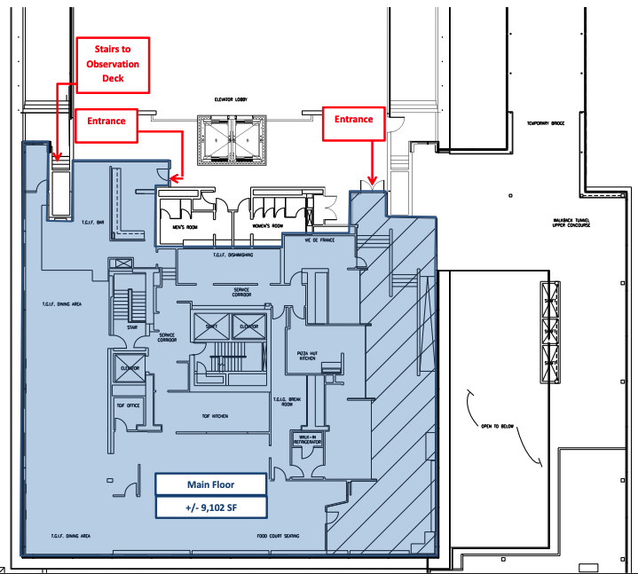 Dulles Tower Lounge Internal Floor Plan. Image by MWAA.