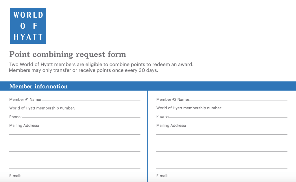The form to combine Hyatt points is only available in paper format.