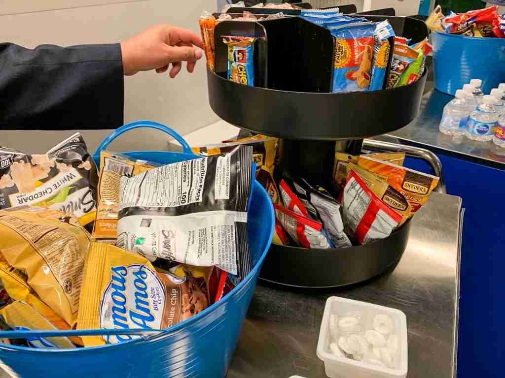 The diversion snack cart that awaited us in Tulsa (Photo by Summer Hull / The Points Guy)