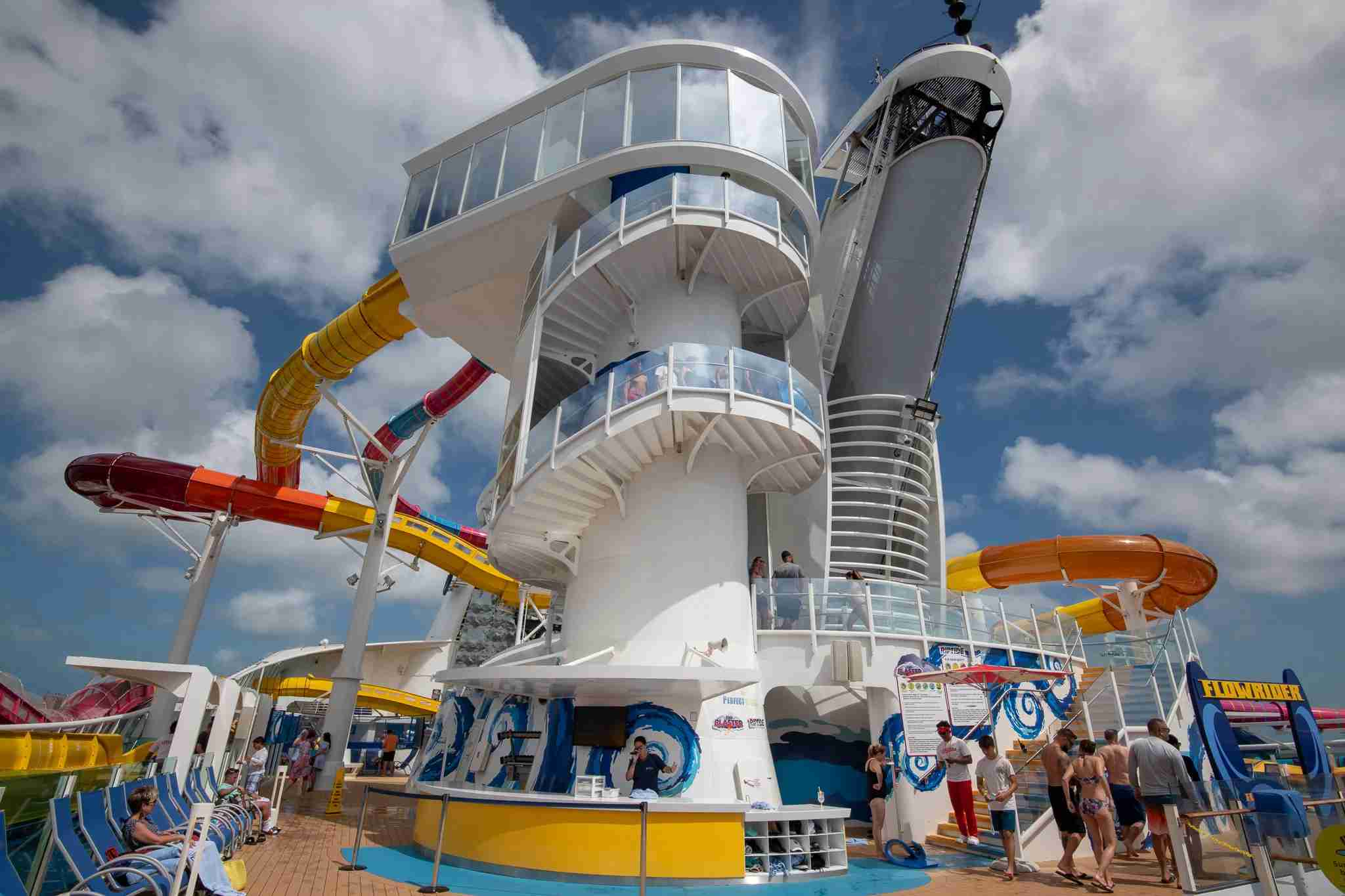 A multideck tower serves as the entryway to the new water slides on Navigator of the Seas. Photo by Gene Sloan / The Points Guy.