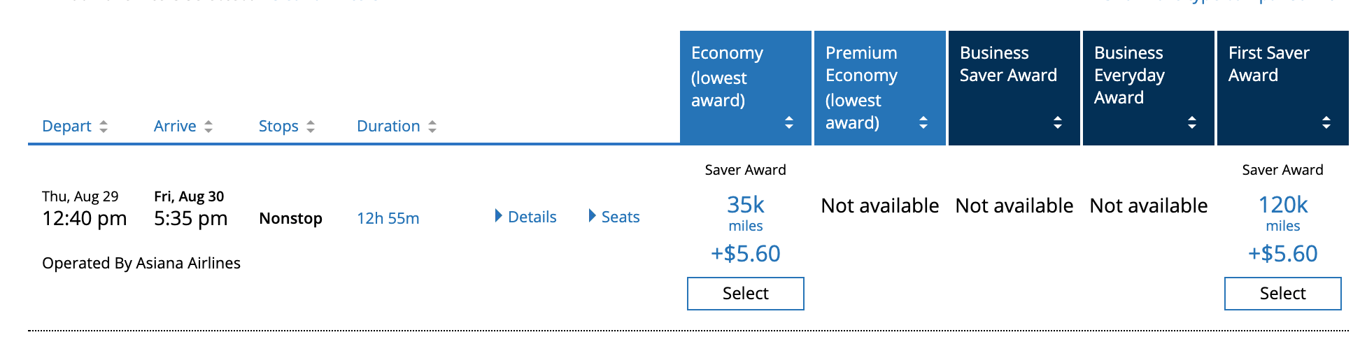 Asiana Airlines First Class United Saver Award from LA to Seoul
