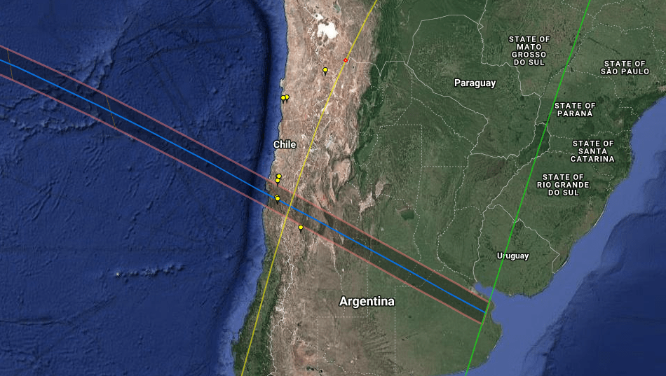 The path of totality of the next total solar eclipse passing through Chile and Argentina.