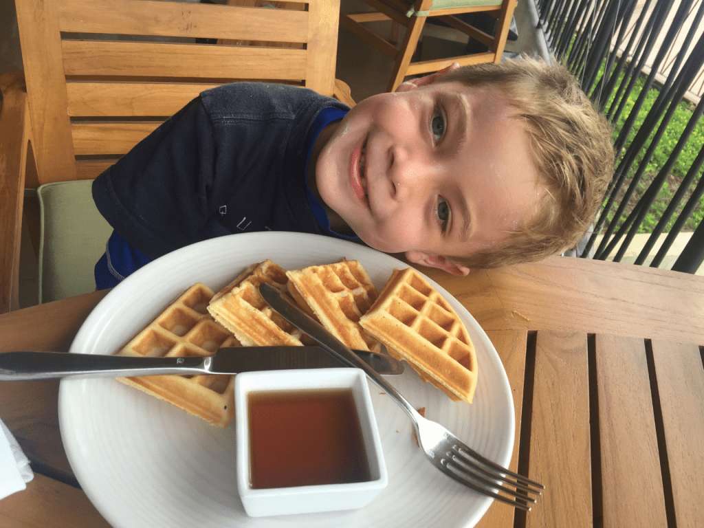 Timmy eating waffles at the Andaz Papagayo