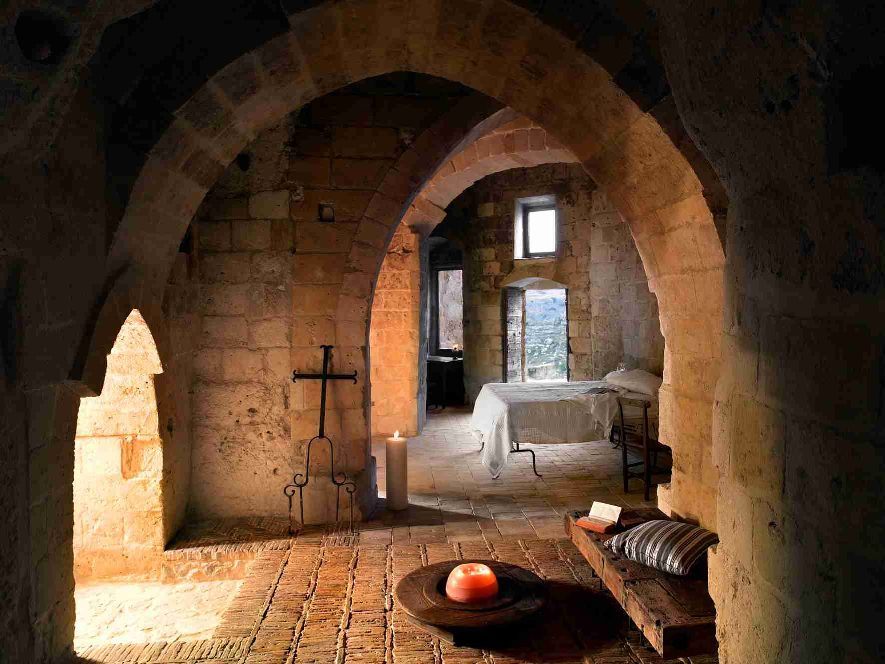 A suite at Sextantio Le Grotte della Civita. (Photo courtesy of Design Hotels.)