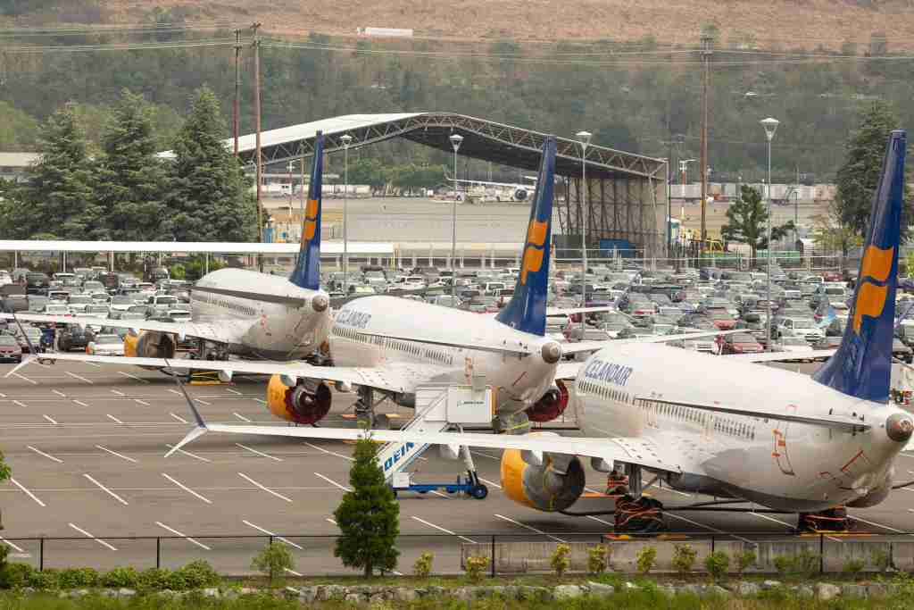 Boeing 737 MAX airplanes from Icelandair sit parked in a parking lot at a Boeing facility adjacent to King County International Airport, known as Boeing Field, on May 31, 2019. (Photo by David Ryder/Getty Images)