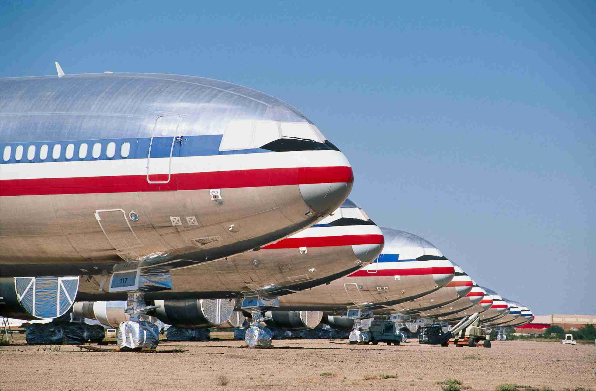 a row of noses of American Airlines McDonnell Douglas DC-10s parked after retirement in to desert-storage, Arizona, USA. (Photo by: aviation-images.com/Universal Images Group via Getty Images)