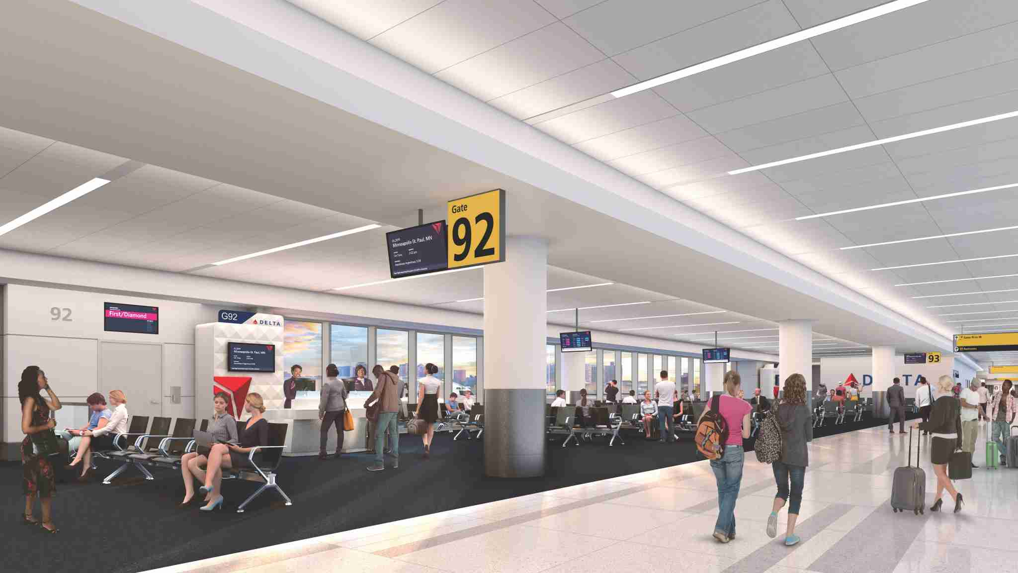 Rendering of the new gate area in concourse G at New York LaGuardia. Courtesy of Delta Air Lines.