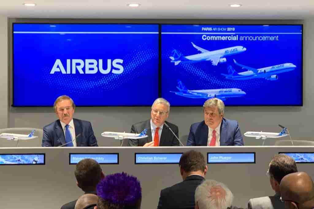 Executives introduce the A321XLR at the 2019 Paris Air Show. Photo by Zach Honig / The Points Guy.