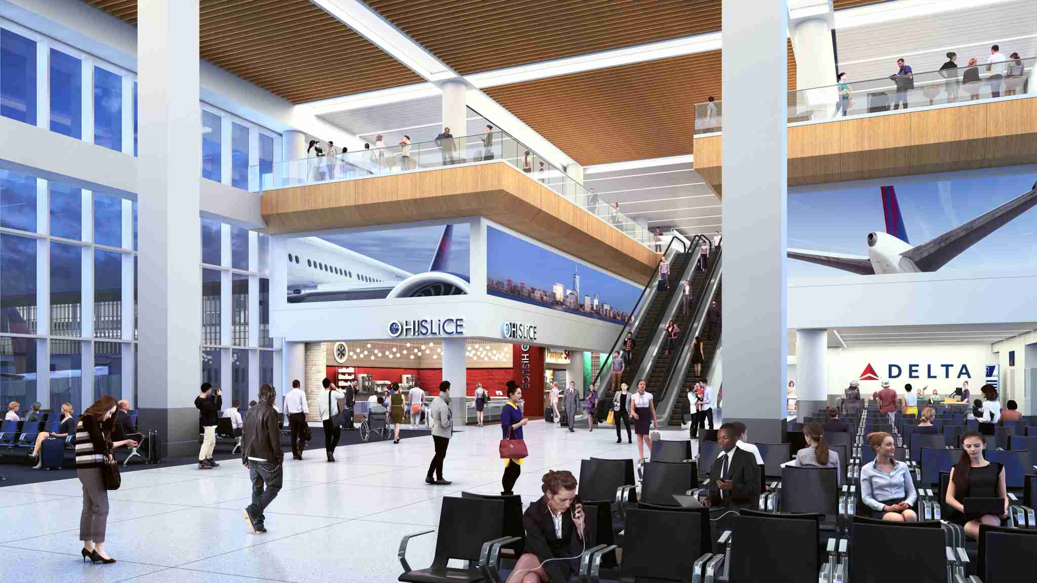 A rendering of the interior of the new concourse G at New York LaGuardia. Courtesy of Delta Air Lines.