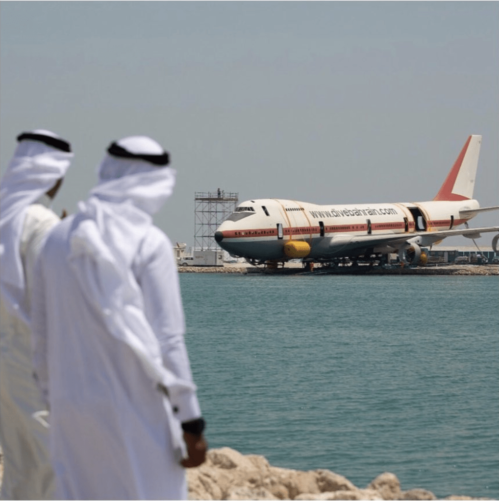 Dive Bahrain sends its centerpiece 747 out to sea ahead of the dive site