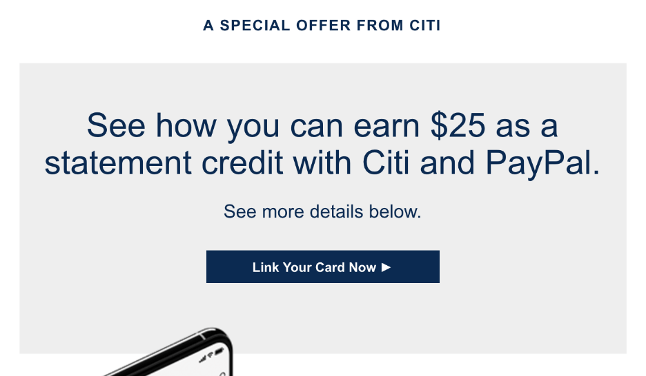 Citi Offering Targeted Statement Credit for PayPal Purchases
