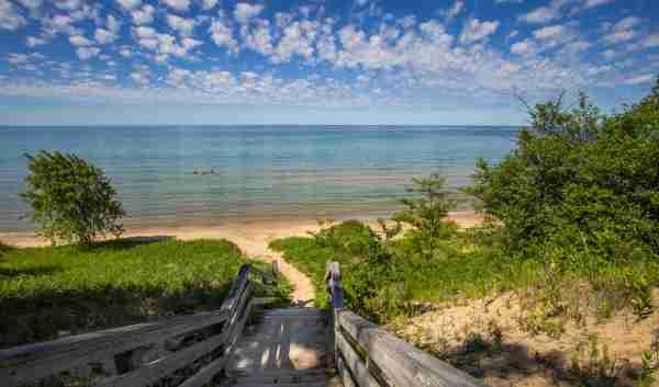 Michigan Lake beach stairs summer