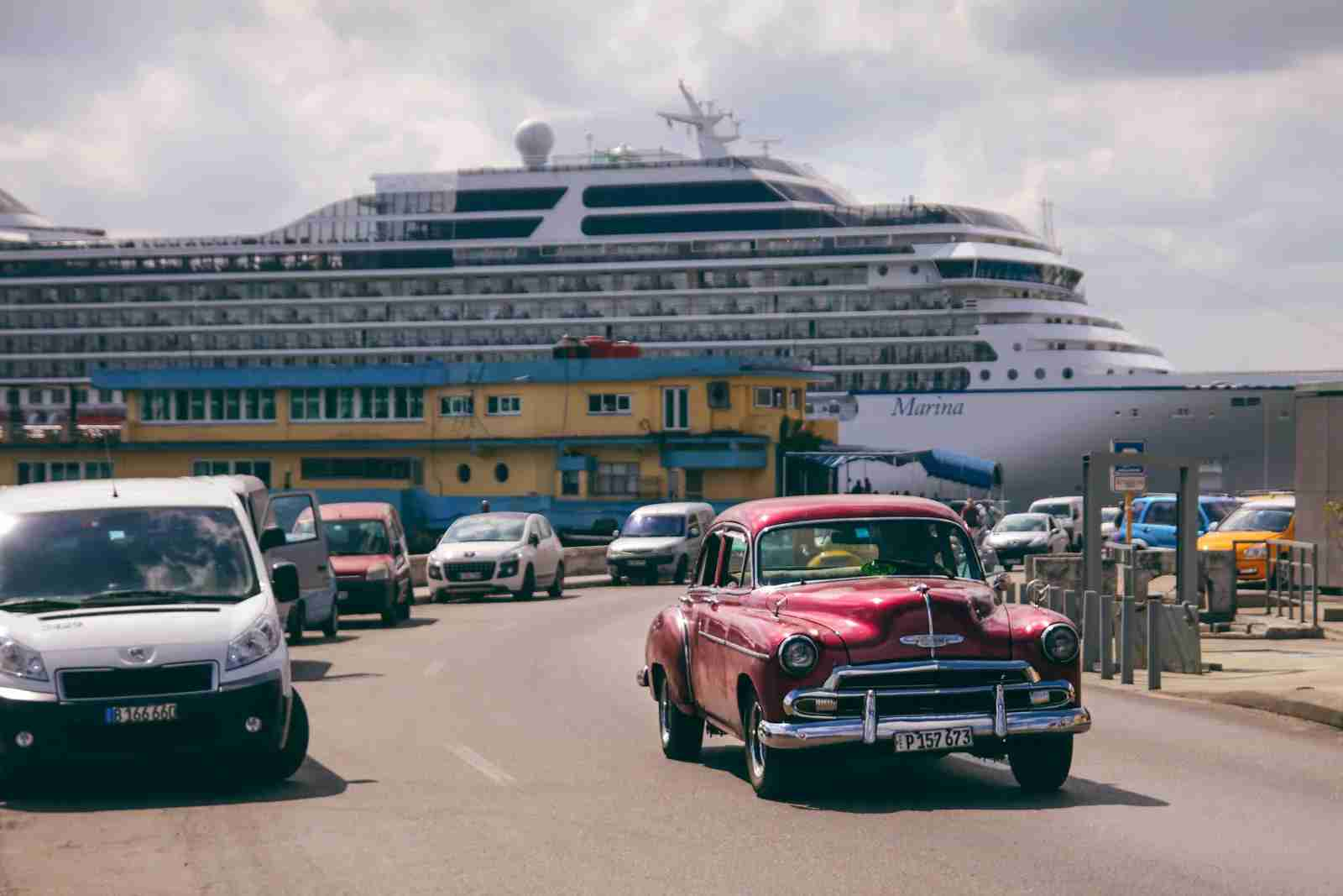 Cuba cruise ship docked in Havana with car