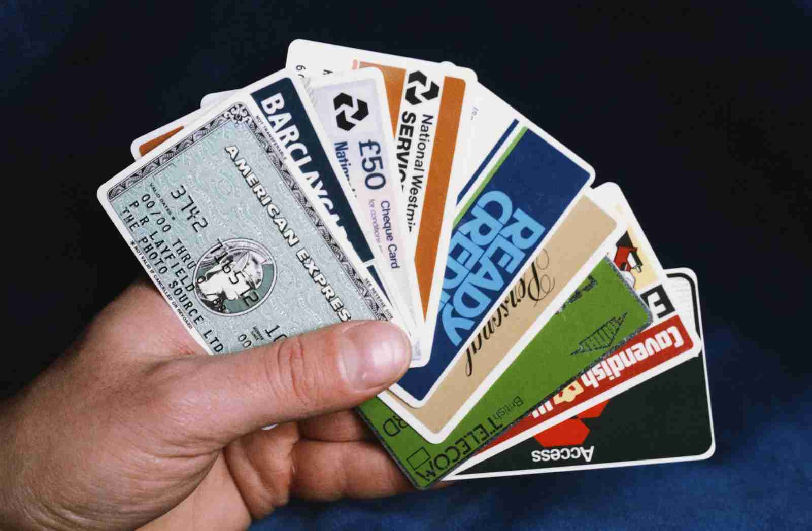 A selection of credit and bank cards, along with a green British Telecom phone card in 1986. (Photo by Fox Photos / Hulton Archive / Getty Images)