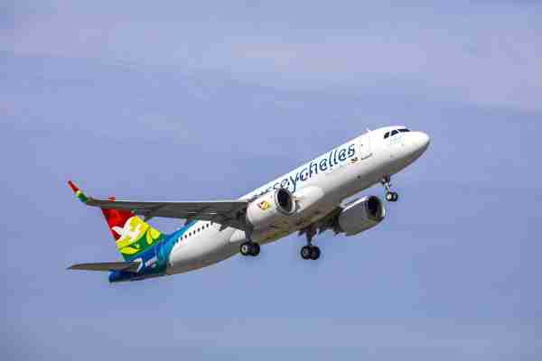 A photo of Air Seychelles' first Airbus A320neo. (Photo courtesy of Airbus)