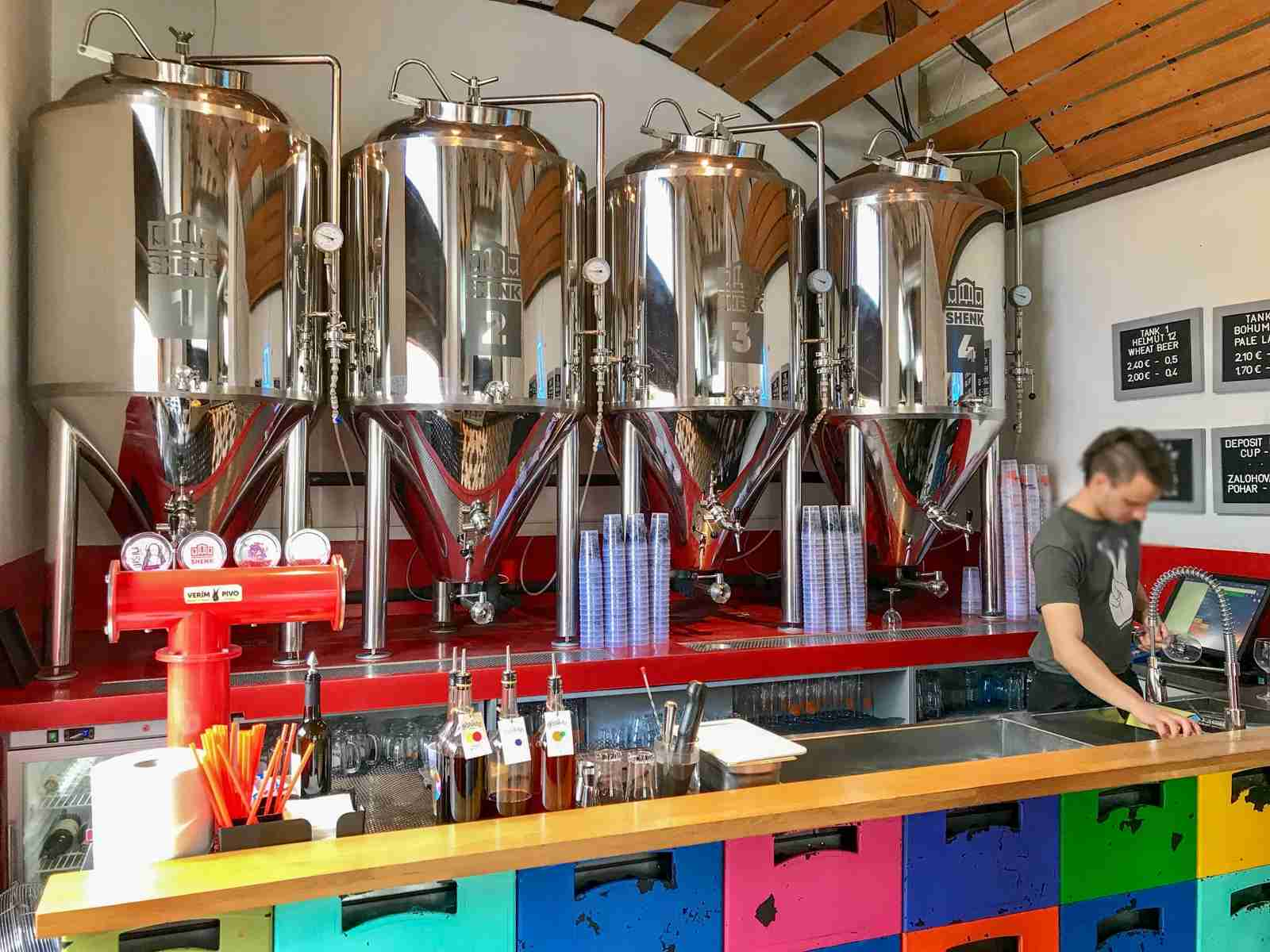 Výčap u Ernőho is a taproom for a local microbrewer called Shenk that