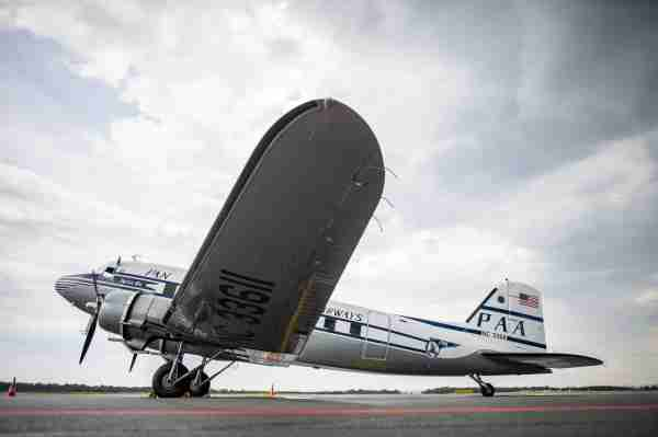 NC33611, a Douglas DC-3, wearing a historical Pan Am livery. (Photo by Guido Kirchner/picture alliance via Getty Images)